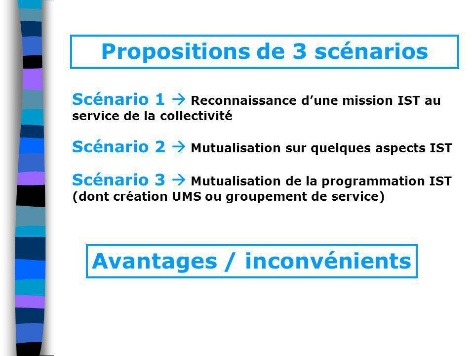 Scénario 1 Reconnaissance dune mission IST au service de la collectivité Scénario 2 Mutualisation sur quelques aspects IST Scénario 3 Mutualisation de