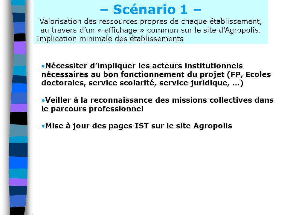– Scénario 1 – Valorisation des ressources propres de chaque établissement, au travers dun « affichage » commun sur le site dAgropolis. Implication mi