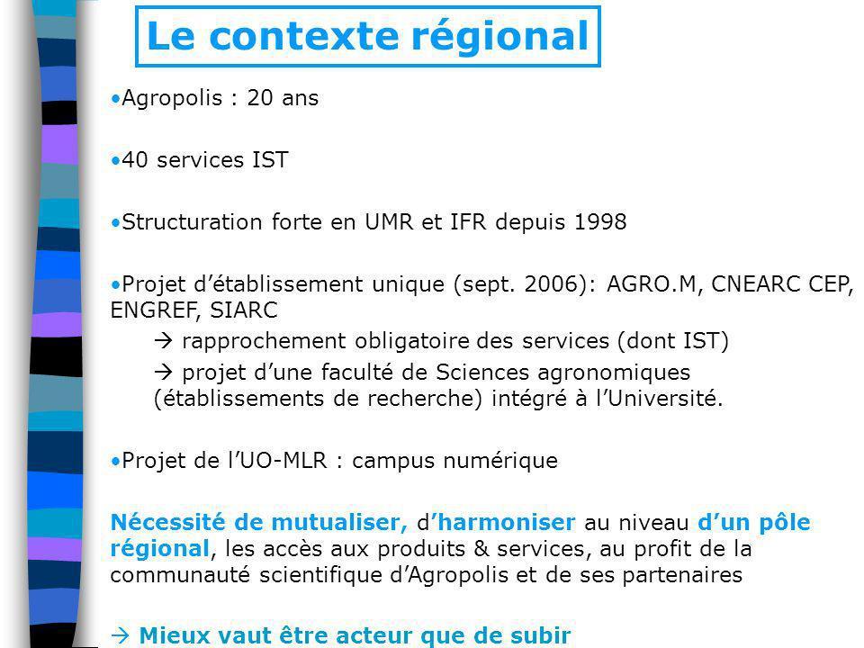Agropolis : 20 ans 40 services IST Structuration forte en UMR et IFR depuis 1998 Projet détablissement unique (sept. 2006): AGRO.M, CNEARC CEP, ENGREF