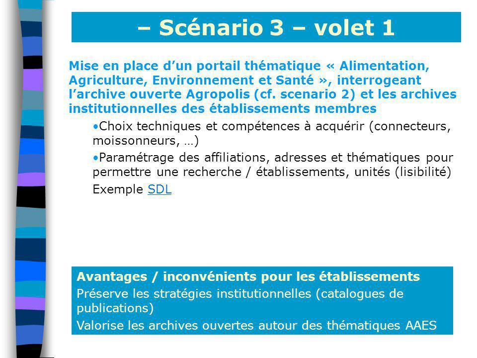 – Scénario 3 – volet 1 Avantages / inconvénients pour les établissements Préserve les stratégies institutionnelles (catalogues de publications) Valori