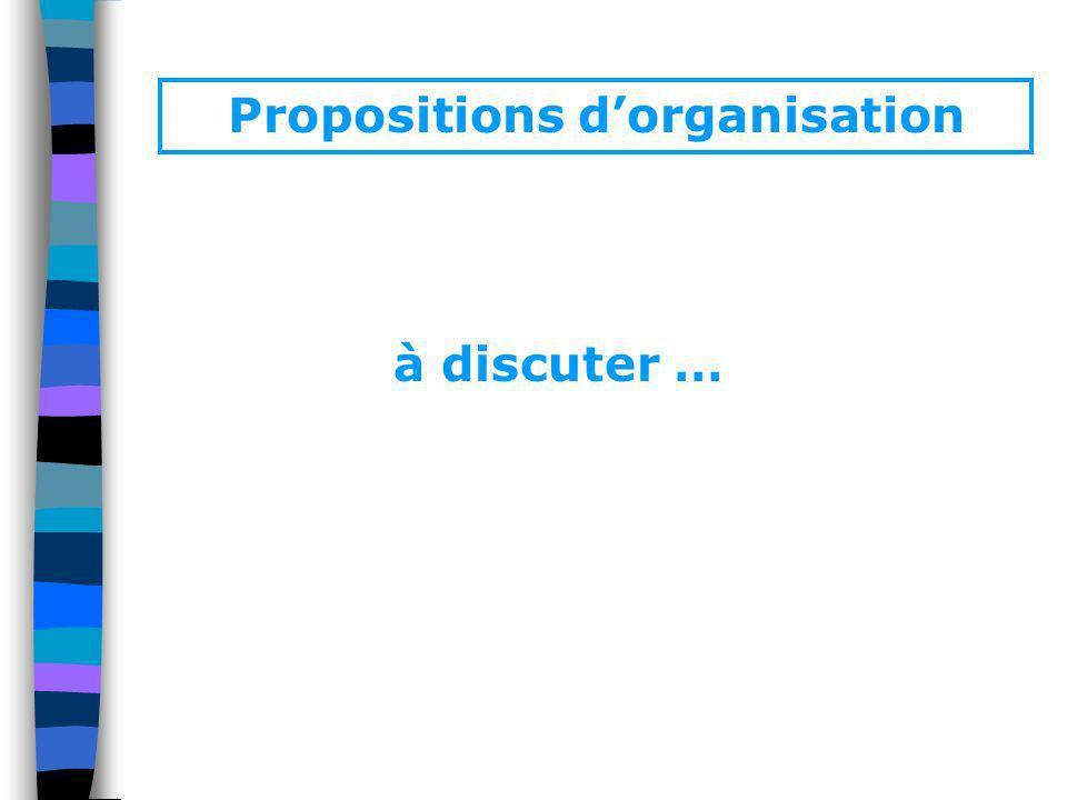 Propositions dorganisation à discuter …