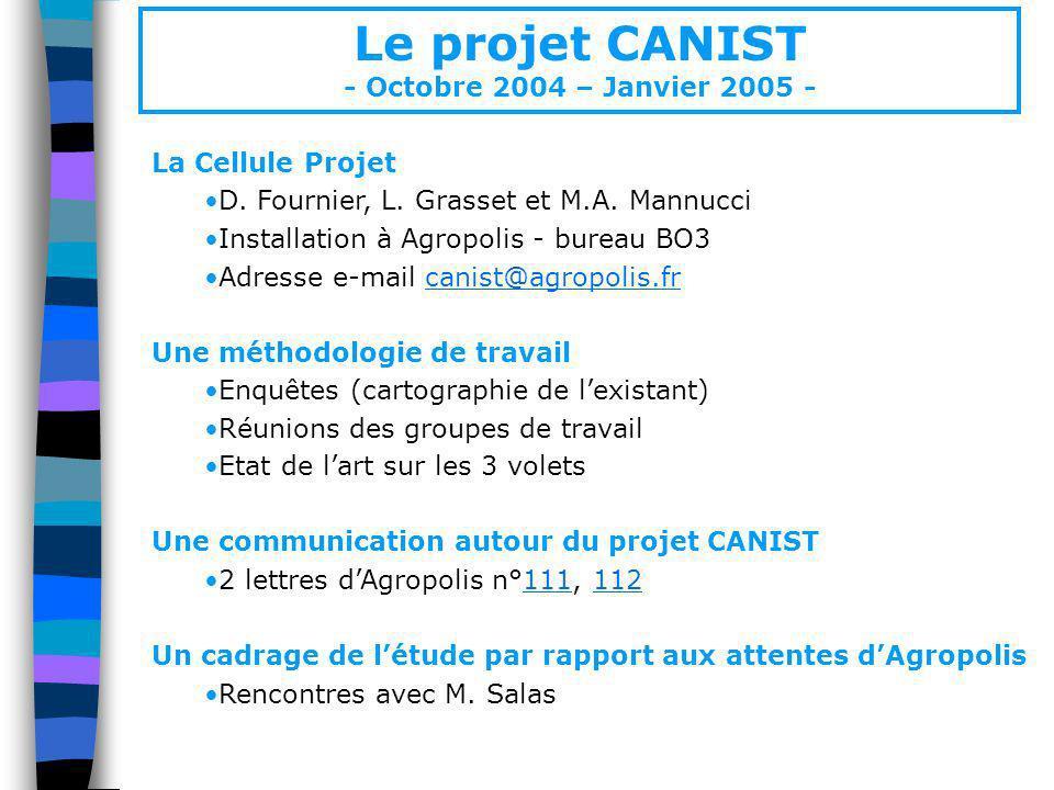 Le projet CANIST - Octobre 2004 – Janvier 2005 - La Cellule Projet D. Fournier, L. Grasset et M.A. Mannucci Installation à Agropolis - bureau BO3 Adre