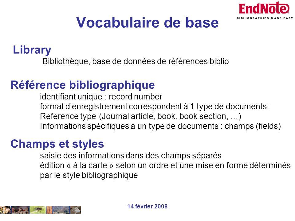14 février 2008 Library Bibliothèque, base de données de références biblio Référence bibliographique identifiant unique : record number format denregi