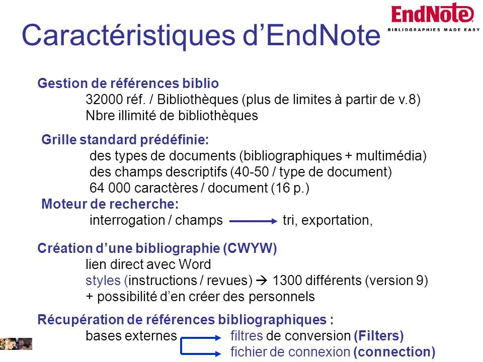 14 février 2008 Gestion de références biblio 32000 réf. / Bibliothèques (plus de limites à partir de v.8) Nbre illimité de bibliothèques Grille standa