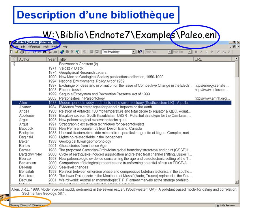 14 février 2008 Description dune bibliothèque W:\Biblio\Endnote7\Examples\Paleo.enl
