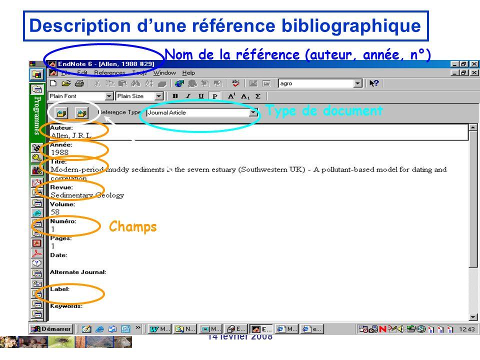 14 février 2008 Description dune référence bibliographique Nom de la référence (auteur, année, n°) Type de document Champs Navigation entre références