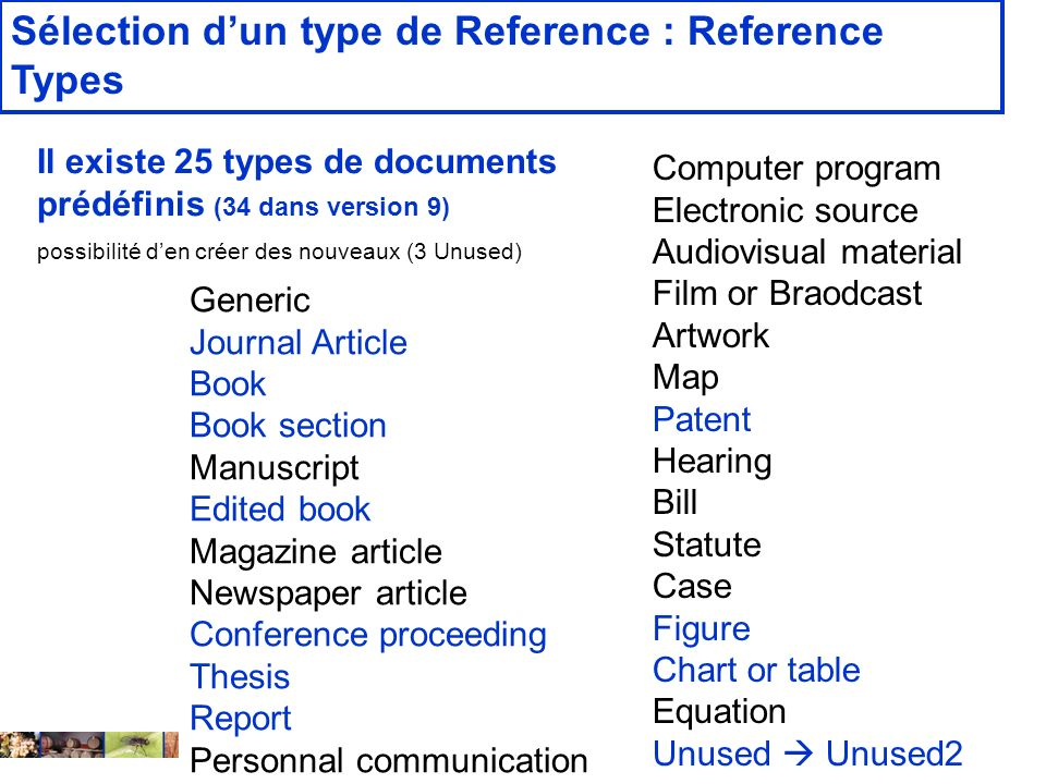 14 février 2008 Sélection dun type de Reference : Reference Types Computer program Electronic source Audiovisual material Film or Braodcast Artwork Ma