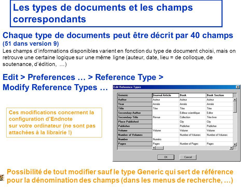 14 février 2008 Les types de documents et les champs correspondants Chaque type de documents peut être décrit par 40 champs (51 dans version 9) Les ch