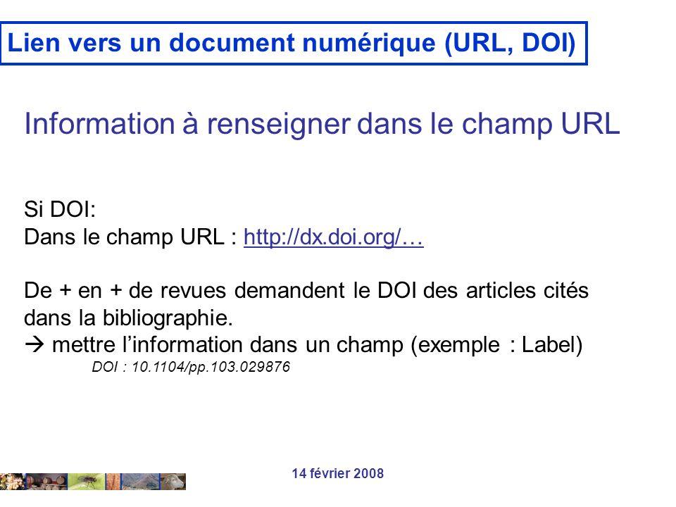 14 février 2008 Lien vers un document numérique (URL, DOI) Information à renseigner dans le champ URL Si DOI: Dans le champ URL : http://dx.doi.org/…