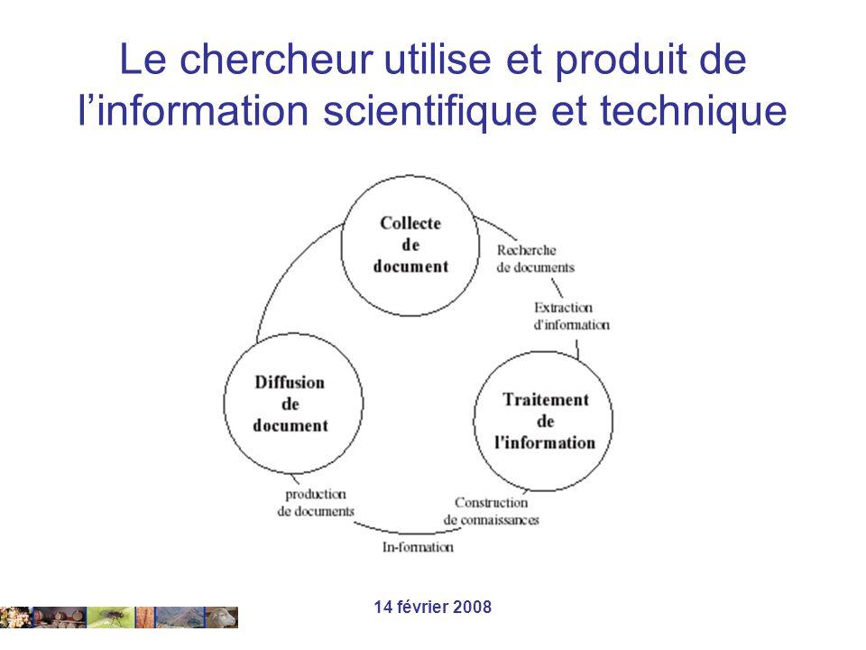 14 février 2008 Le chercheur utilise et produit de linformation scientifique et technique …
