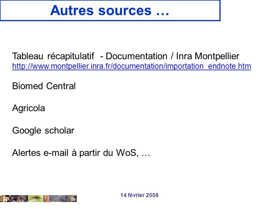 14 février 2008 Autres sources … Tableau récapitulatif - Documentation / Inra Montpellier http://www.montpellier.inra.fr/documentation/importation_end