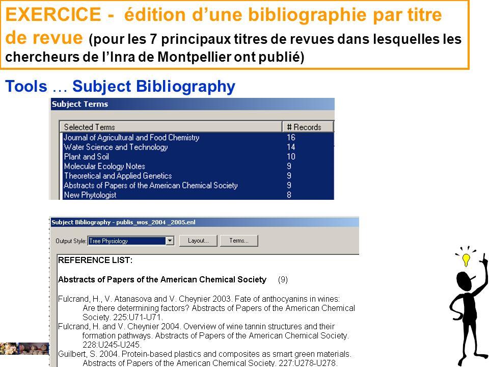 14 février 2008 EXERCICE - édition dune bibliographie par titre de revue (pour les 7 principaux titres de revues dans lesquelles les chercheurs de lIn