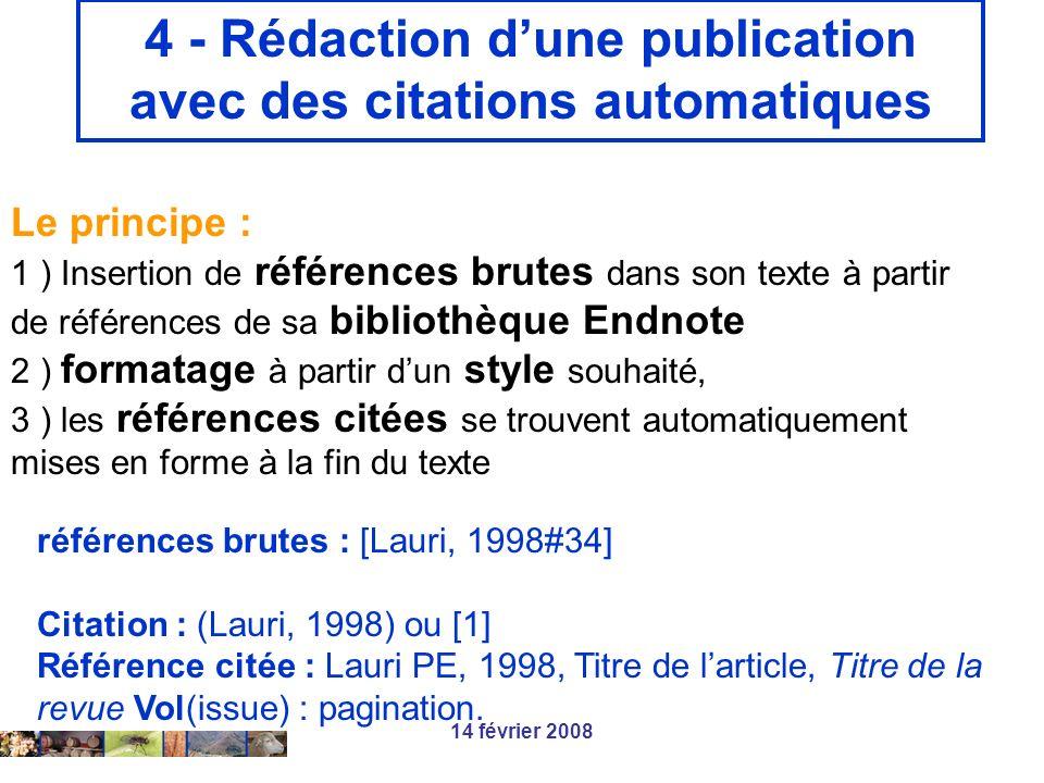 14 février 2008 4 - Rédaction dune publication avec des citations automatiques Le principe : 1 ) Insertion de références brutes dans son texte à parti