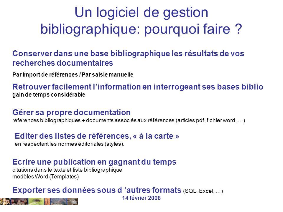 14 février 2008 Travail sur la librairie Paleo (exemple) W:\Biblio\Endnote7\Examples\Paleo.enl Ouverture - Fermeture - Personnalisation Fermeture (sauvegarde)
