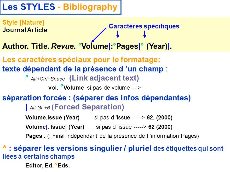 14 février 2008 Les STYLES - Bibliography Style [Nature] Journal Article Author. Title. Revue. °Volume|:°Pages|° (Year)|. Les caractères spéciaux pour