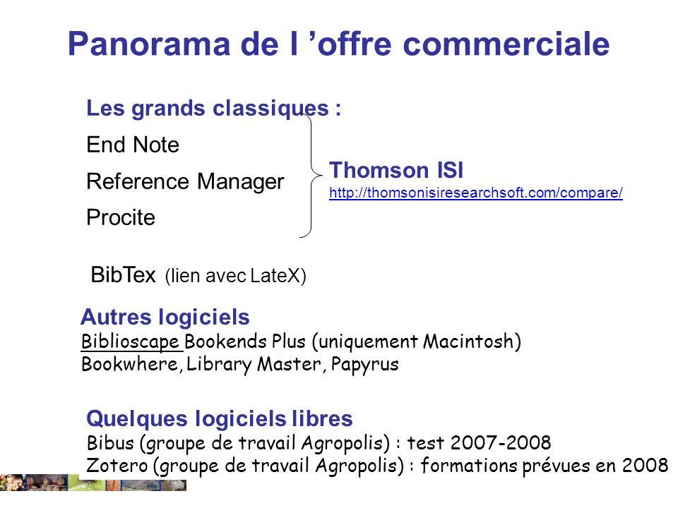 14 février 2008 Les grands classiques : End Note Reference Manager Procite Autres logiciels Biblioscape Bookends Plus (uniquement Macintosh) Bookwhere