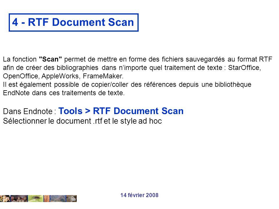 14 février 2008 4 - RTF Document Scan La fonction