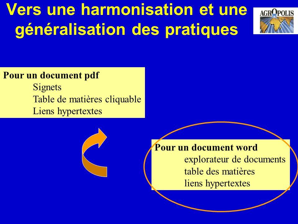 Vers une harmonisation et une généralisation des pratiques Pour un document pdf Signets Table de matières cliquable Liens hypertextes Pour un document