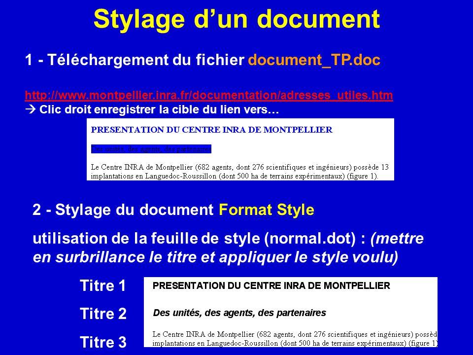 Stylage dun document 1 - Téléchargement du fichier document_TP.doc http://www.montpellier.inra.fr/documentation/adresses_utiles.htm Clic droit enregis