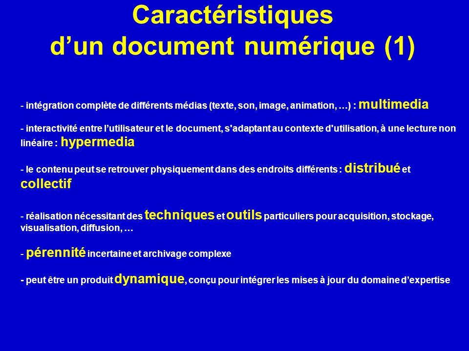 Caractéristiques dun document numérique (1) - intégration complète de différents médias (texte, son, image, animation, …) : multimedia - interactivité