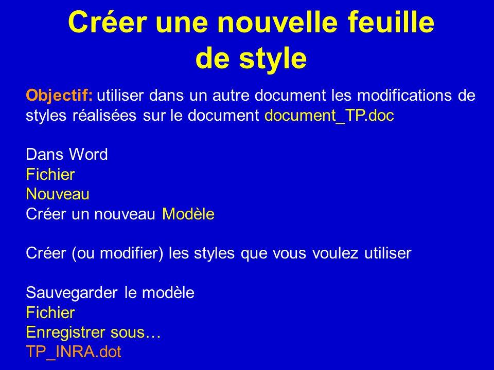 Créer une nouvelle feuille de style Objectif: utiliser dans un autre document les modifications de styles réalisées sur le document document_TP.doc Da