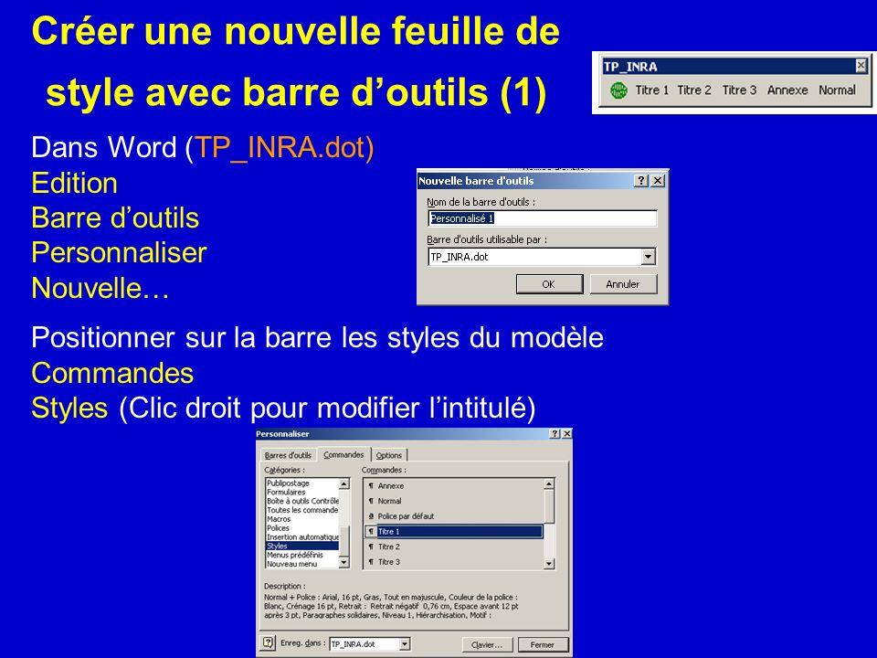 Créer une nouvelle feuille de style avec barre doutils (1) Dans Word (TP_INRA.dot) Edition Barre doutils Personnaliser Nouvelle… Positionner sur la ba