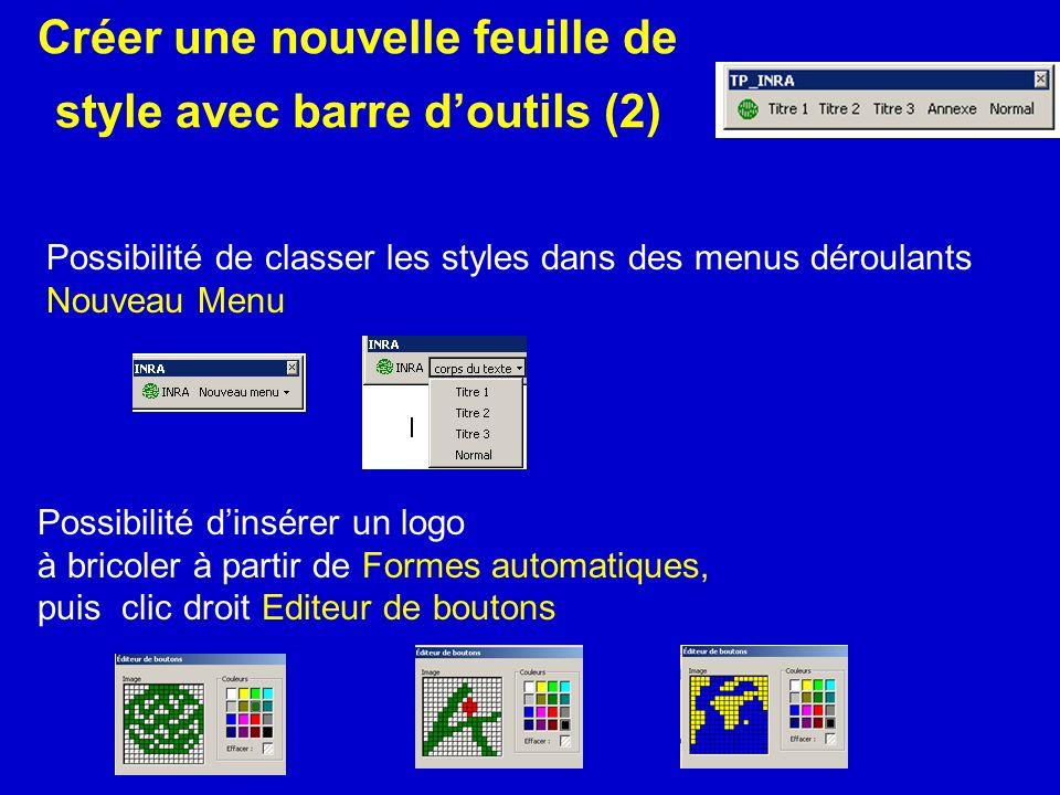 Créer une nouvelle feuille de style avec barre doutils (2) Possibilité de classer les styles dans des menus déroulants Nouveau Menu Possibilité dinsér