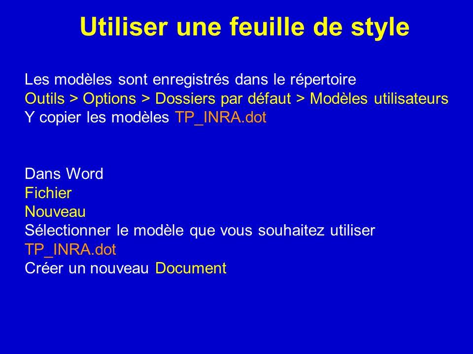Utiliser une feuille de style Les modèles sont enregistrés dans le répertoire Outils > Options > Dossiers par défaut > Modèles utilisateurs Y copier l