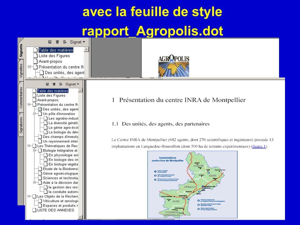 avec la feuille de style rapport_Agropolis.dot
