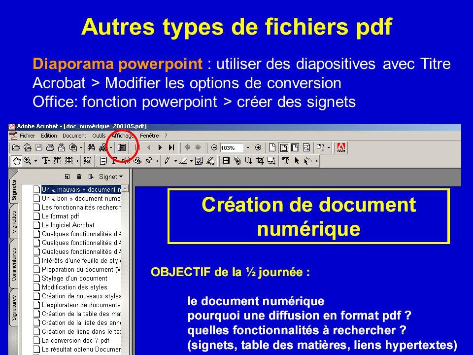 Autres types de fichiers pdf Diaporama powerpoint : utiliser des diapositives avec Titre Acrobat > Modifier les options de conversion Office: fonction