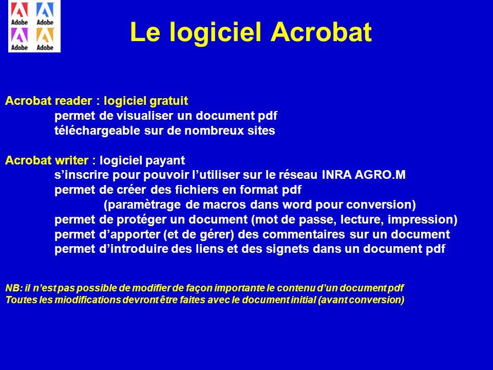 Le logiciel Acrobat Acrobat reader : logiciel gratuit permet de visualiser un document pdf téléchargeable sur de nombreux sites Acrobat writer : logic