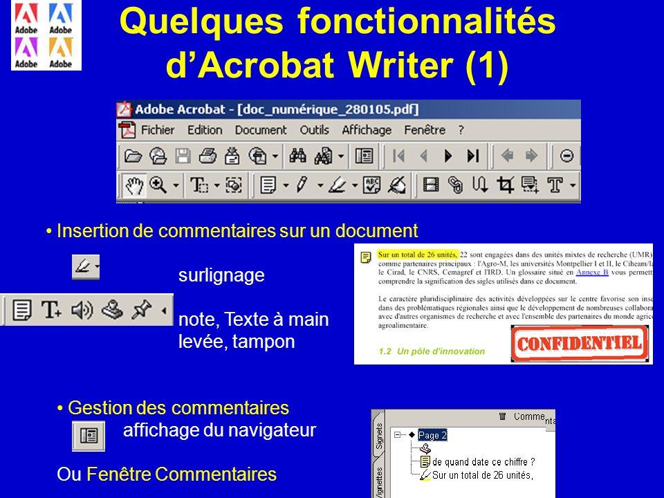 Quelques fonctionnalités dAcrobat Writer (1) Insertion de commentaires sur un document surlignage note, Texte à main levée, tampon Gestion des comment