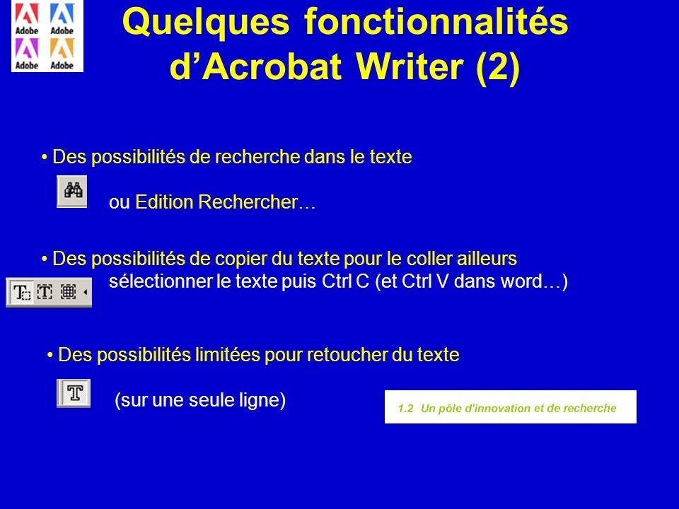 Quelques fonctionnalités dAcrobat Writer (2) Des possibilités de recherche dans le texte ou Edition Rechercher… Des possibilités de copier du texte po