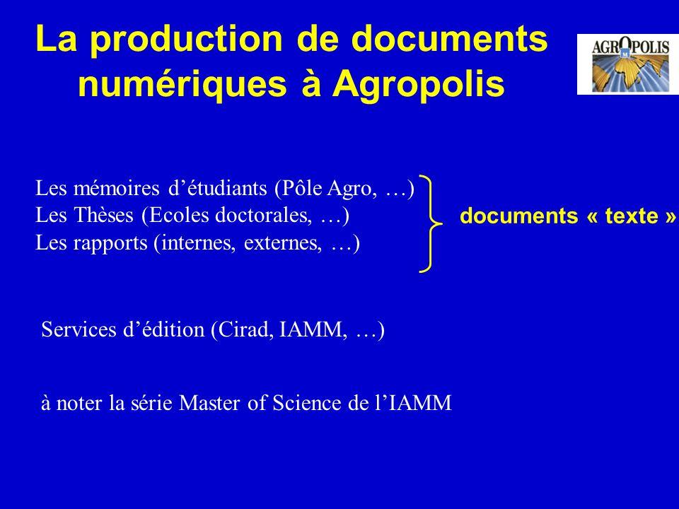 La production de documents numériques à Agropolis Les mémoires détudiants (Pôle Agro, …) Les Thèses (Ecoles doctorales, …) Les rapports (internes, ext