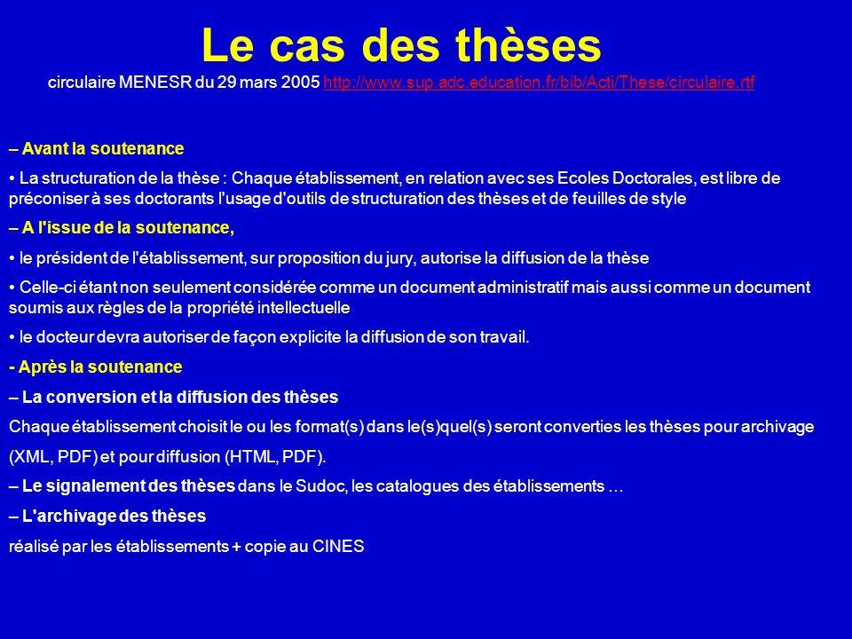 Le cas des thèses circulaire MENESR du 29 mars 2005 http://www.sup.adc.education.fr/bib/Acti/These/circulaire.rtfhttp://www.sup.adc.education.fr/bib/A