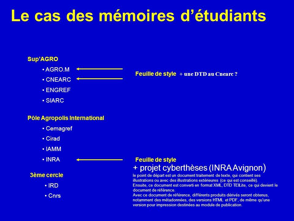 Le cas des mémoires détudiants SupAGRO AGRO.M CNEARC ENGREF SIARC Pôle Agropolis International Cemagref Cirad IAMM INRA 3ème cercle IRD Cnrs Feuille d