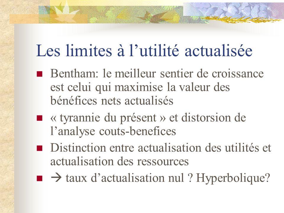 Les limites à lutilité actualisée Bentham: le meilleur sentier de croissance est celui qui maximise la valeur des bénéfices nets actualisés « tyrannie