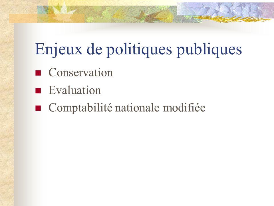 Enjeux de politiques publiques Conservation Evaluation Comptabilité nationale modifiée