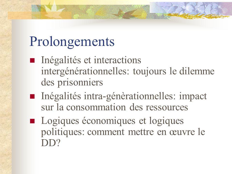 Prolongements Inégalités et interactions intergénérationnelles: toujours le dilemme des prisonniers Inégalités intra-génèrationnelles: impact sur la c