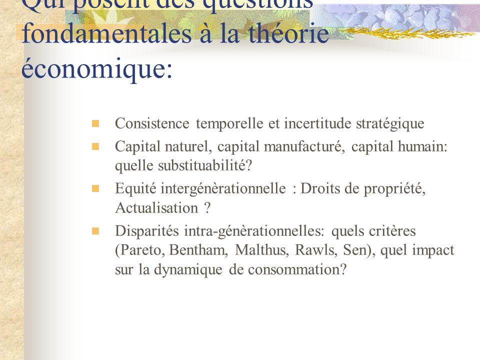 Qui posent des questions fondamentales à la théorie économique: Consistence temporelle et incertitude stratégique Capital naturel, capital manufacturé