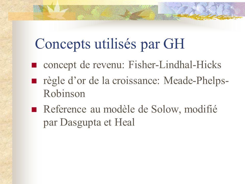 Concepts utilisés par GH concept de revenu: Fisher-Lindhal-Hicks règle dor de la croissance: Meade-Phelps- Robinson Reference au modèle de Solow, modi