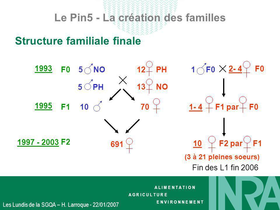 A L I M E N T A T I O N A G R I C U L T U R E E N V I R O N N E M E N T Les Lundis de la SGQA – H. Larroque - 22/01/2007 Le Pin5 - La création des fam