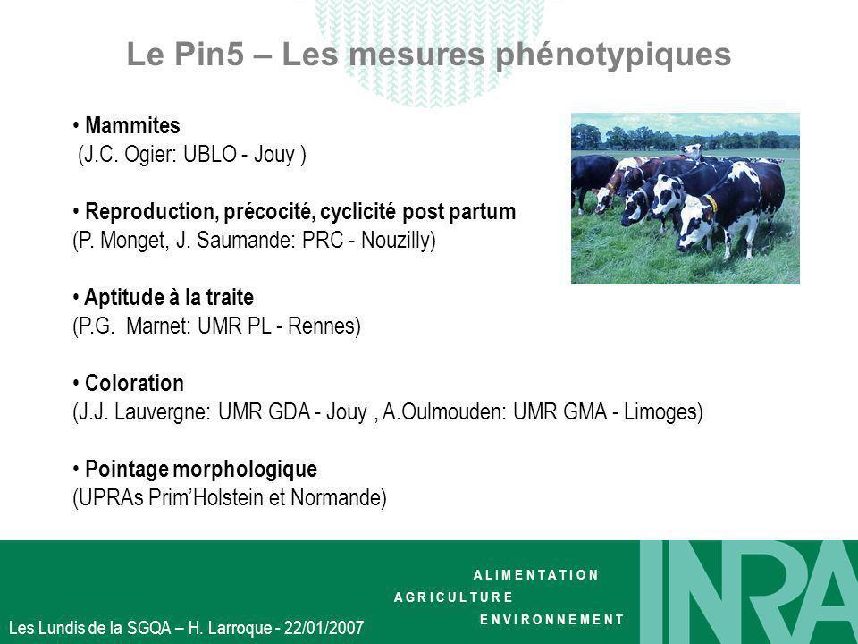 A L I M E N T A T I O N A G R I C U L T U R E E N V I R O N N E M E N T Les Lundis de la SGQA – H. Larroque - 22/01/2007 Le Pin5 – Les mesures phénoty