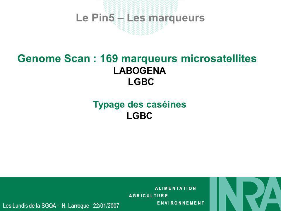 A L I M E N T A T I O N A G R I C U L T U R E E N V I R O N N E M E N T Les Lundis de la SGQA – H. Larroque - 22/01/2007 Le Pin5 – Les marqueurs Genom