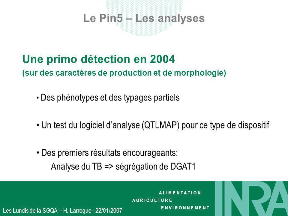 A L I M E N T A T I O N A G R I C U L T U R E E N V I R O N N E M E N T Les Lundis de la SGQA – H. Larroque - 22/01/2007 Le Pin5 – Les analyses Une pr