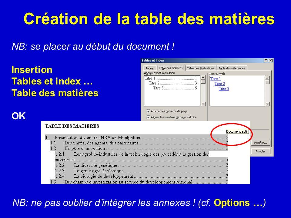 Création de la table des matières NB: se placer au début du document ! Insertion Tables et index … Table des matières OK NB: ne pas oublier dintégrer