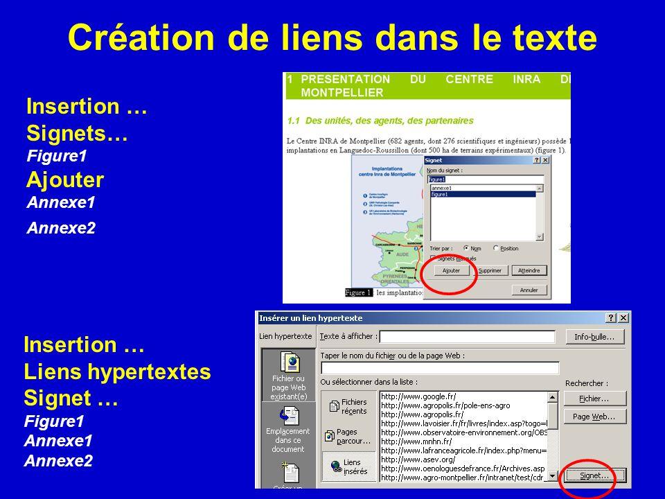 Création de liens dans le texte Insertion … Signets… Figure1 Ajouter Annexe1 Annexe2 Insertion … Liens hypertextes Signet … Figure1 Annexe1 Annexe2