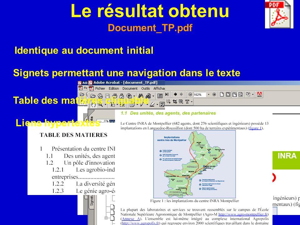 Le résultat obtenu Document_TP.pdf Identique au document initial Signets permettant une navigation dans le texte Table des matières cliquable Liens hy