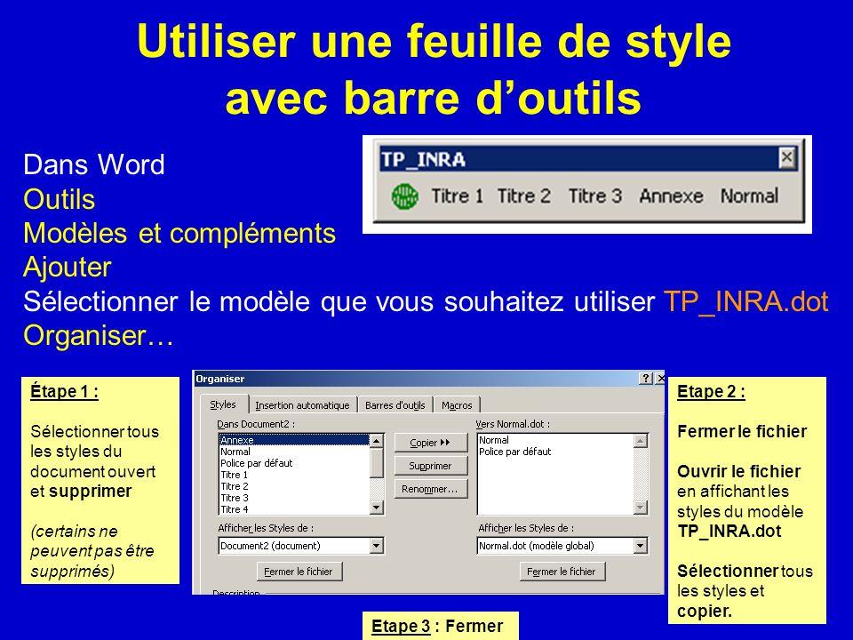 Utiliser une feuille de style avec barre doutils Dans Word Outils Modèles et compléments Ajouter Sélectionner le modèle que vous souhaitez utiliser TP
