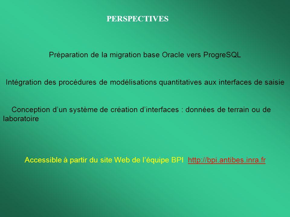 Préparation de la migration base Oracle vers ProgreSQL Intégration des procédures de modélisations quantitatives aux interfaces de saisie Conception d